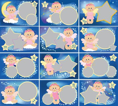 Collection of photo frames with zodiac signs photo
