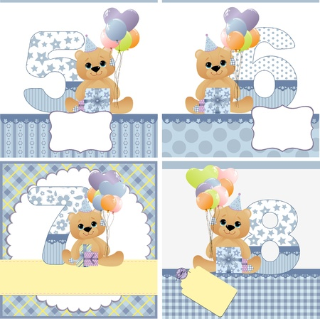 8 years birthday: Cute templates set for baby arrival announcement card Illustration
