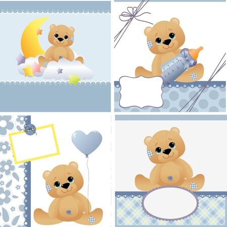 osito caricatura: Plantillas de lindos fijado para tarjeta de anuncio de llegada del beb� Vectores
