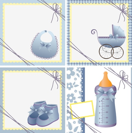 bootees: Cute templates set for baby arrival announcement card Illustration