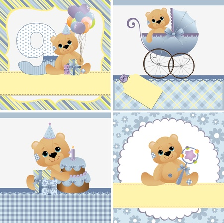bonnet: Cute templates set for baby arrival announcement card Illustration