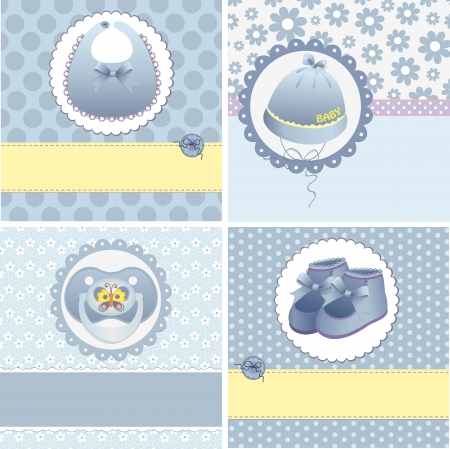 dummies: Cute templates set for baby arrival announcement card Illustration