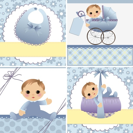 cradle: Cute templates set for baby arrival announcement card Illustration