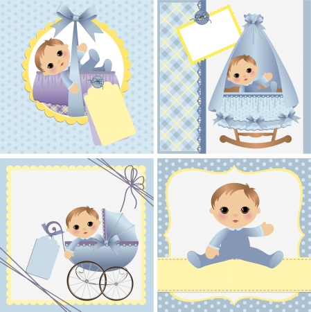 pretty baby: Cute templates set for baby arrival announcement card Illustration