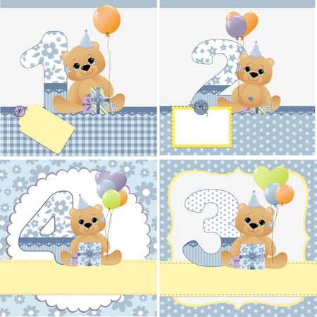 1 2 years: Cute templates set for baby arrival announcement card Illustration
