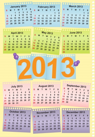 Cute monthly calendar for year 2013 Vector