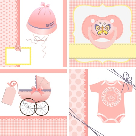 Cute templates set for baby arrival announcement card Vector