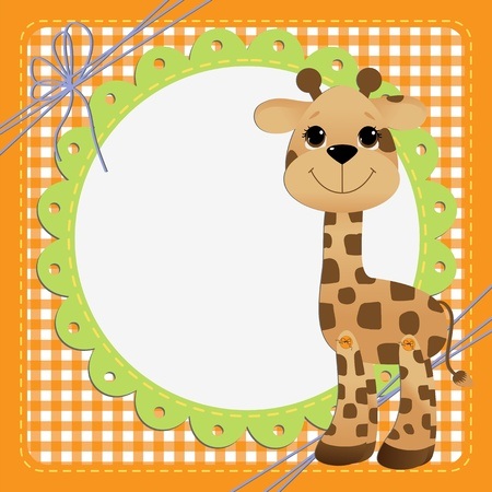 Cute teplate for postcard with giraffe baby