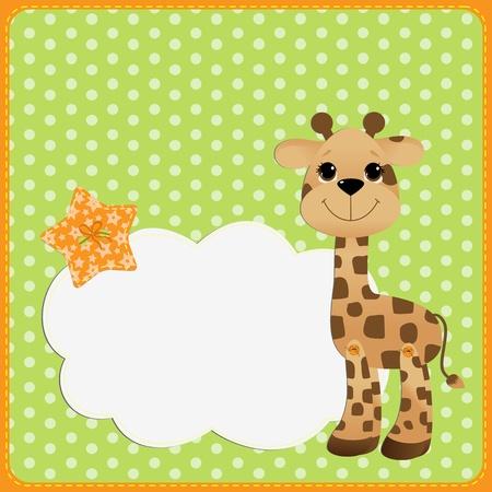 Teplate lindo para la tarjeta postal con el bebé jirafa Ilustración de vector