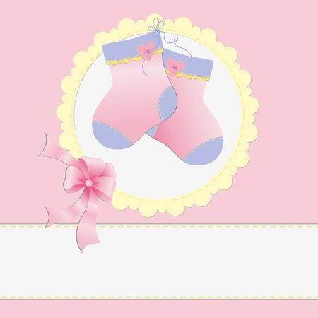 congratulations banner: Cute template for baby arrival announcement card Illustration
