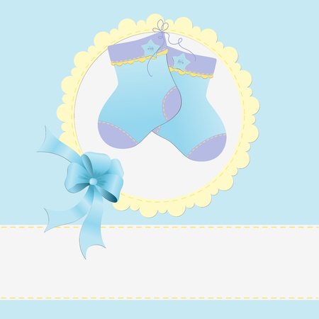 arrive: Cute template for baby arrival announcement card Illustration
