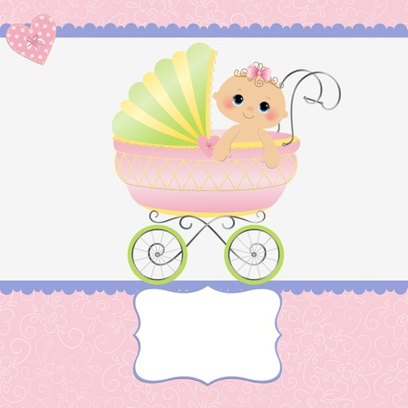 buggy: Cute template for baby arrival announcement card Illustration