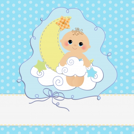Cute template for baby arrival announcement card Illustration