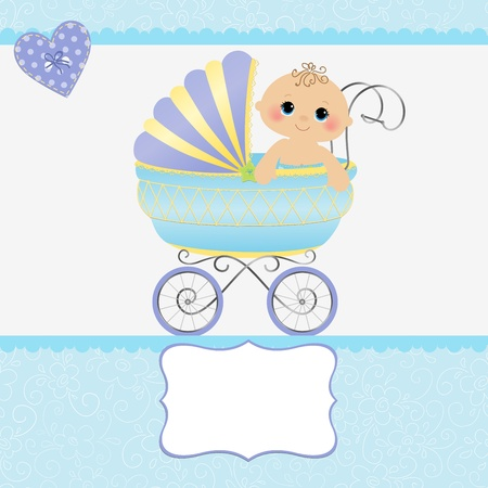 stroller: Cute template for baby arrival announcement card Illustration