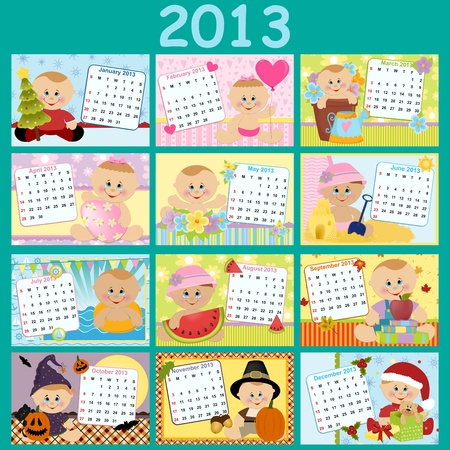 Baby s monthly calendar for year 2013 Stock Vector - 15092556
