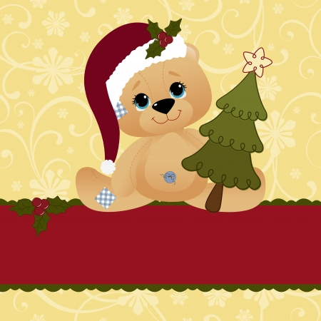 Cute christmas postcard template blank Vector