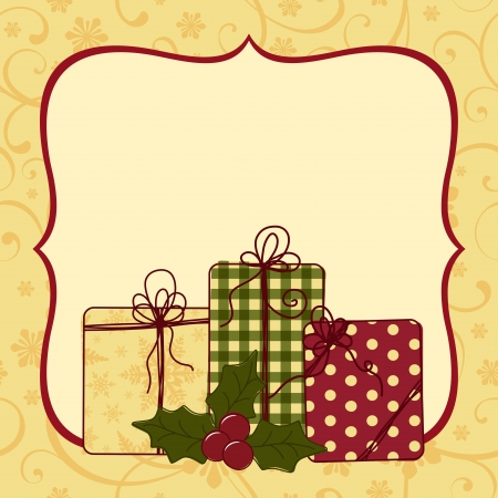 christmas postcard: Cute christmas postcard template blank Illustration