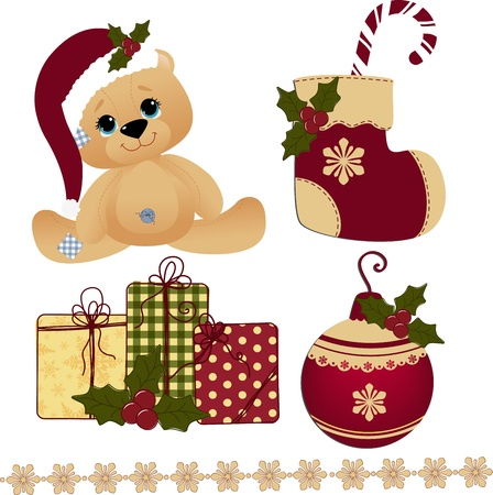 teddy bear christmas: Cute christmas postcard template blank Illustration