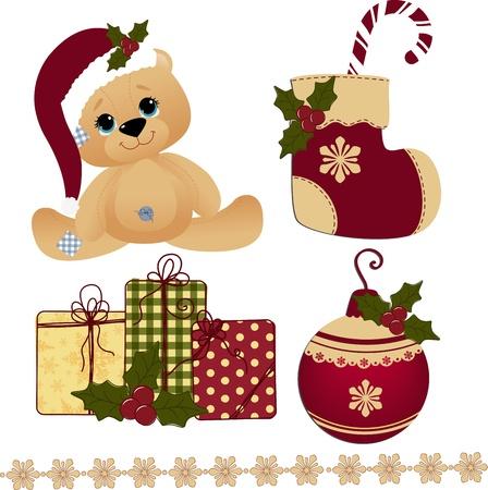 osos navideños: Linda postal de navidad plantilla en blanco
