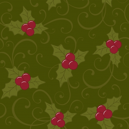 Christmas seamless background with holly berry Vector