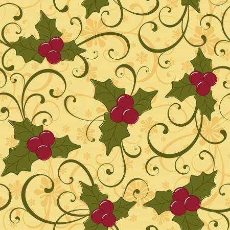holly berry: Christmas seamless background with holly berry