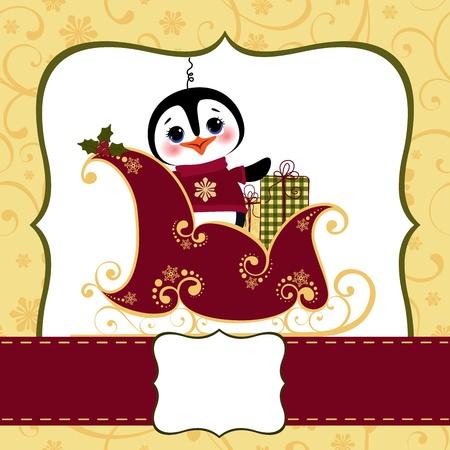 cute text box: Cute christmas new Year postcard template