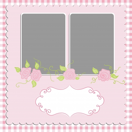 rose coloured: Blank template for greetings card