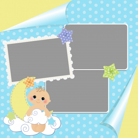baby angel: Blank template for greetings card
