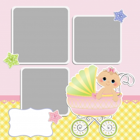 Cute template for baby s card Stock Vector - 16038532