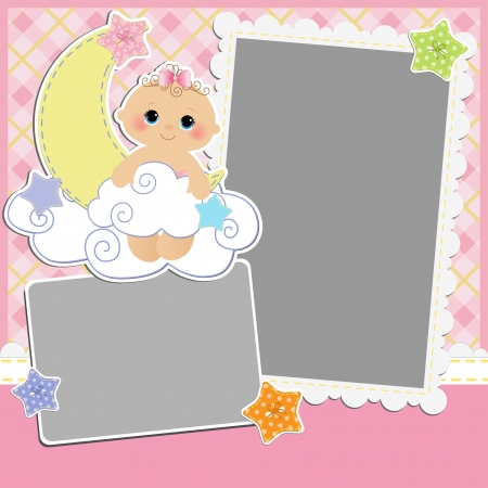 album greetings: Cute template for baby s card
