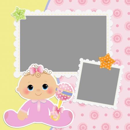 Cute template for baby s card Stock Vector - 16038531
