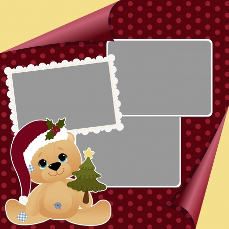 teddy bear christmas: Cute christmas frame template
