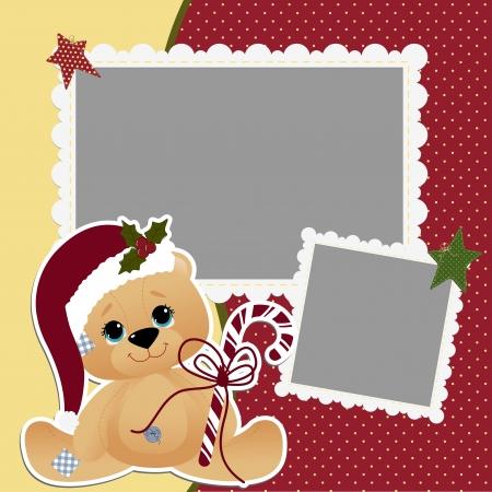 osos navideños: Linda navidad plantilla del marco de