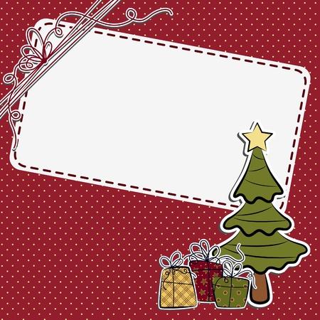 christmas photo frame: Cute christmas postcard template