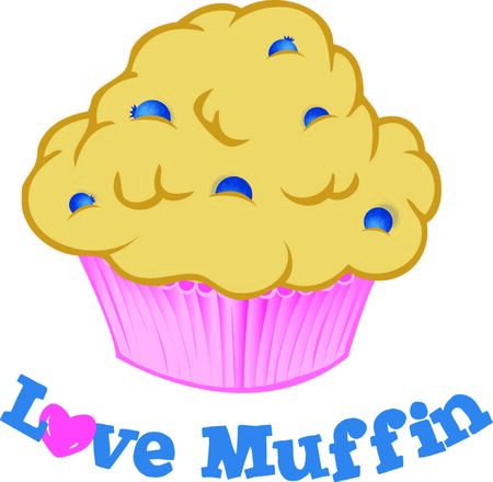 A blueberry muffin is a delicious treat. Ilustracja