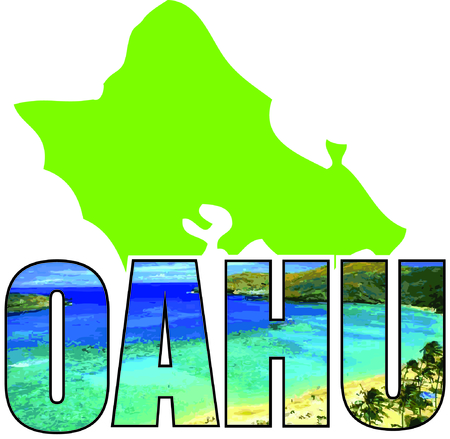 oahu: Show off your love of Hawaii with an island on a tshirt. Illustration