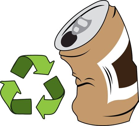 crushed aluminum cans: Display your responsibility to spread the word about environmental responsibility with pride with this design on bags banners tshirts and more. Illustration