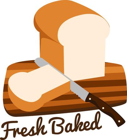 De geur van vers gebakken brood is de meest verleidelijke geur op de planeet. Krijg dit smakelijke ontwerp op uw home projecten Stock Illustratie
