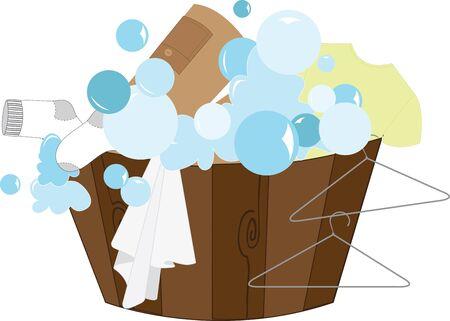 laundry hanger: Despertar su imaginaci�n Personaliza tu ropa y hacerla m�s f�cil de detectar un gran dise�o en tapices de una lavander�a o proyectos en el hogar Vectores