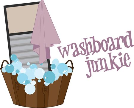 washboard: Spark your imagination  Personalize your linen and make it easier to spot  A great design on wall hangings for a laundromat or home projects Illustration