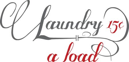 laundromat: Spark your imagination  Personalize your linen and make it easier to spot  A great design on wall hangings for a laundromat or home projects Illustration