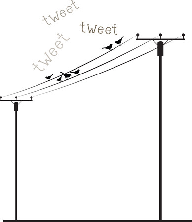telephone pole: Birds sitting and singing on Wire Listen to the music and keep your mind and soul calm always. Illustration