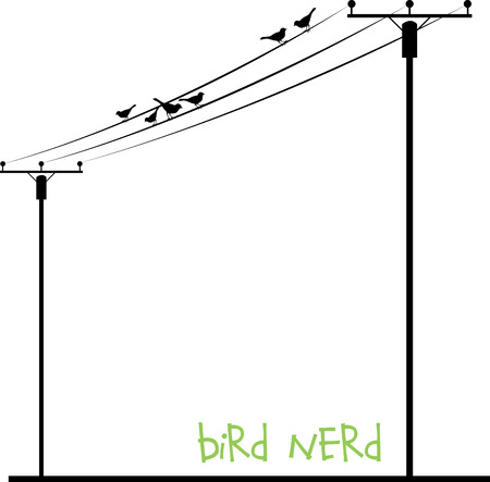 telegraph: Birds sitting and singing on Wire Listen to the music and keep your mind and soul calm always. Illustration
