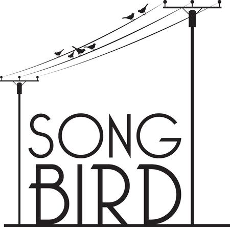 Vogels zitten en zingen op Wire Luister naar de muziek en houd je geest en ziel rust altijd.
