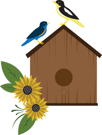 extraordinary: Share pictures of birdhouses from the simple to the extraordinary with this design by embroidery patterns Illustration