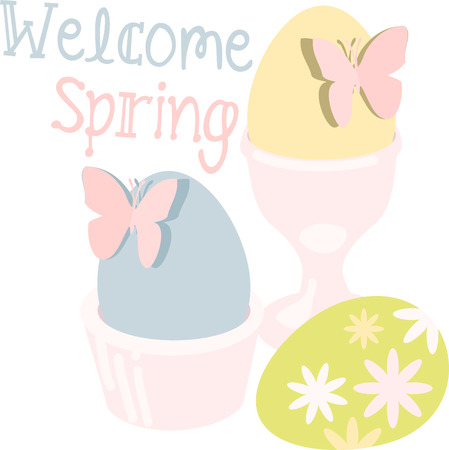 glorioso: podem todos os prazeres da temporada gloriosa ser seu escolher aqueles ovos da p�scoa coloridos com borboletas projetos por padr�es de bordado Ilustra��o