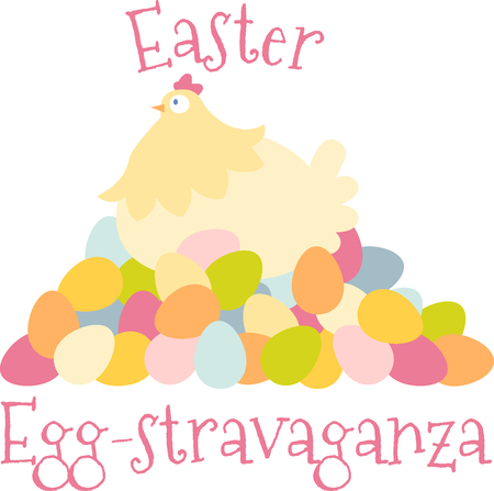 Easter hen eggs lay eggs that are naturally tinted with diferent colors pick those colorful hen with eggs designs by embroidery patterns. Ilustrace