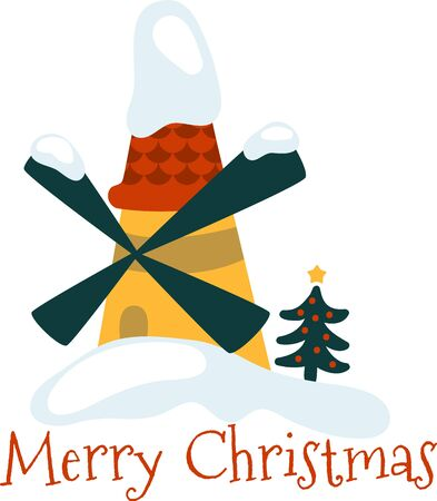 windmill: get the colorful Christmas Windmill design.enjoy to celebrate your Christmas party Illustration