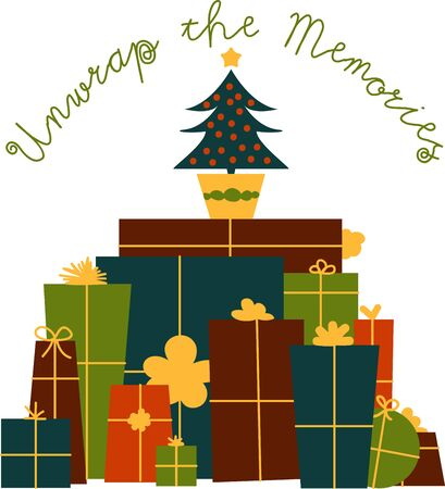 Make your holidays memorably with this Christmas gifts Ilustrace