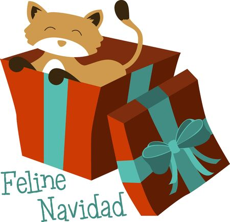 loved: Christmas cat is perfect gift for your loved ones Illustration